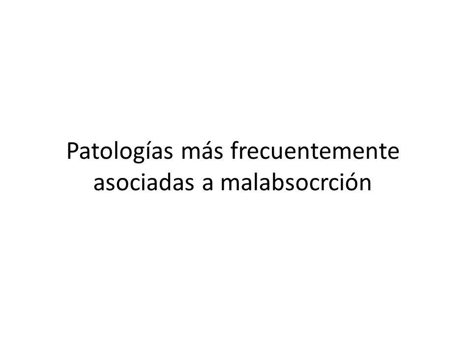 Patologías más frecuentemente asociadas a malabsocrción