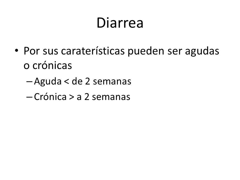 Diarrea Por sus caraterísticas pueden ser agudas o crónicas