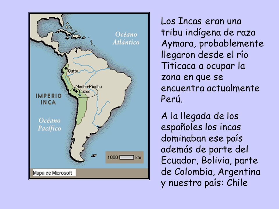 Los Incas eran una tribu indígena de raza Aymara, probablemente llegaron desde el río Titicaca a ocupar la zona en que se encuentra actualmente Perú.