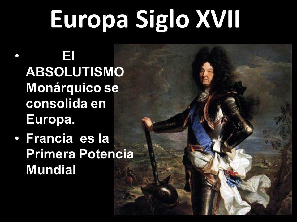 Europa Siglo XVII El ABSOLUTISMO Monárquico se consolida en Europa.