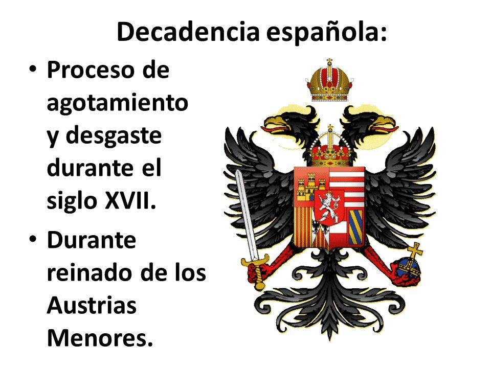 Decadencia española: Proceso de agotamiento y desgaste durante el siglo XVII.