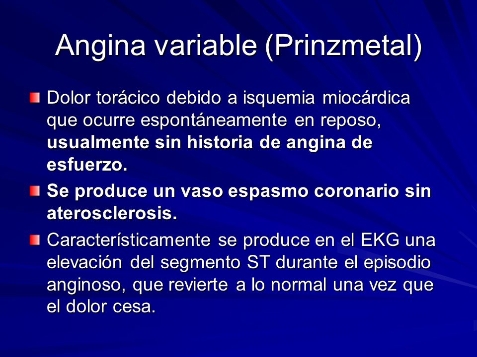 Angina variable (Prinzmetal)