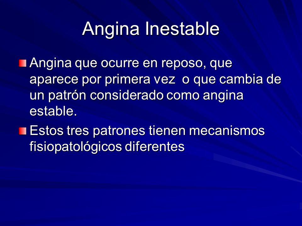 Angina Inestable Angina que ocurre en reposo, que aparece por primera vez o que cambia de un patrón considerado como angina estable.