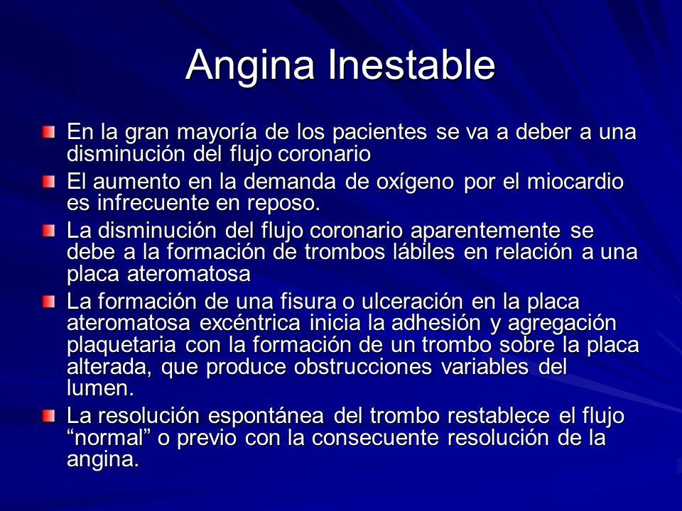 Angina Inestable En la gran mayoría de los pacientes se va a deber a una disminución del flujo coronario.