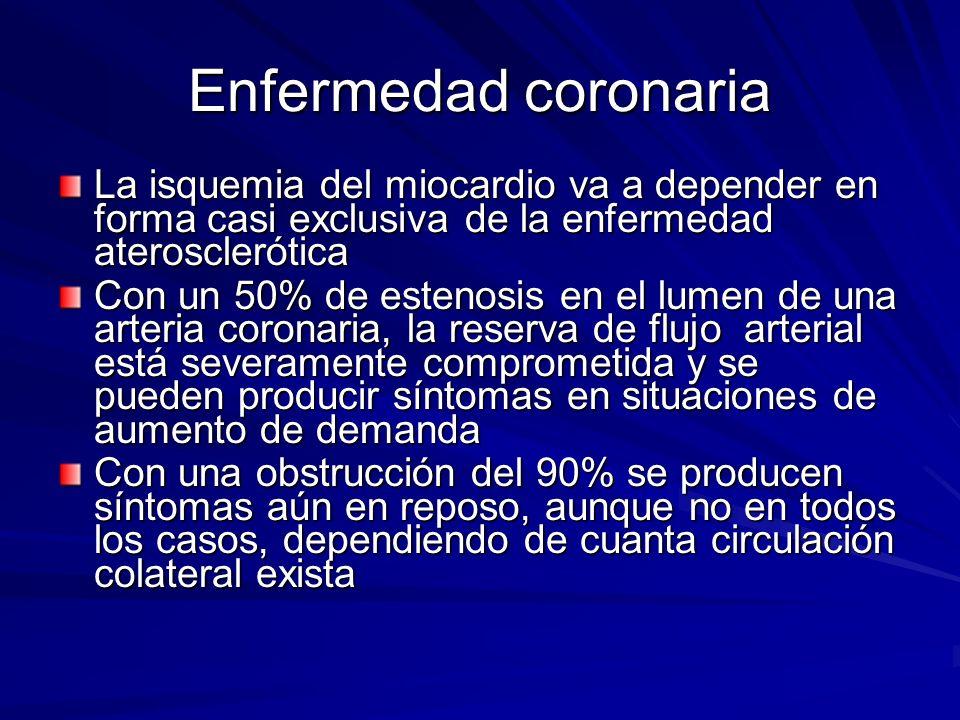 Enfermedad coronaria La isquemia del miocardio va a depender en forma casi exclusiva de la enfermedad aterosclerótica.