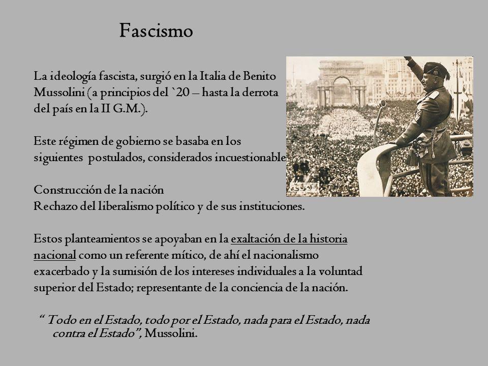 Fascismo La ideología fascista, surgió en la Italia de Benito