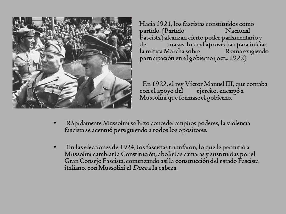 Hacia 1921, los fascistas constituidos como. partido, (Partido