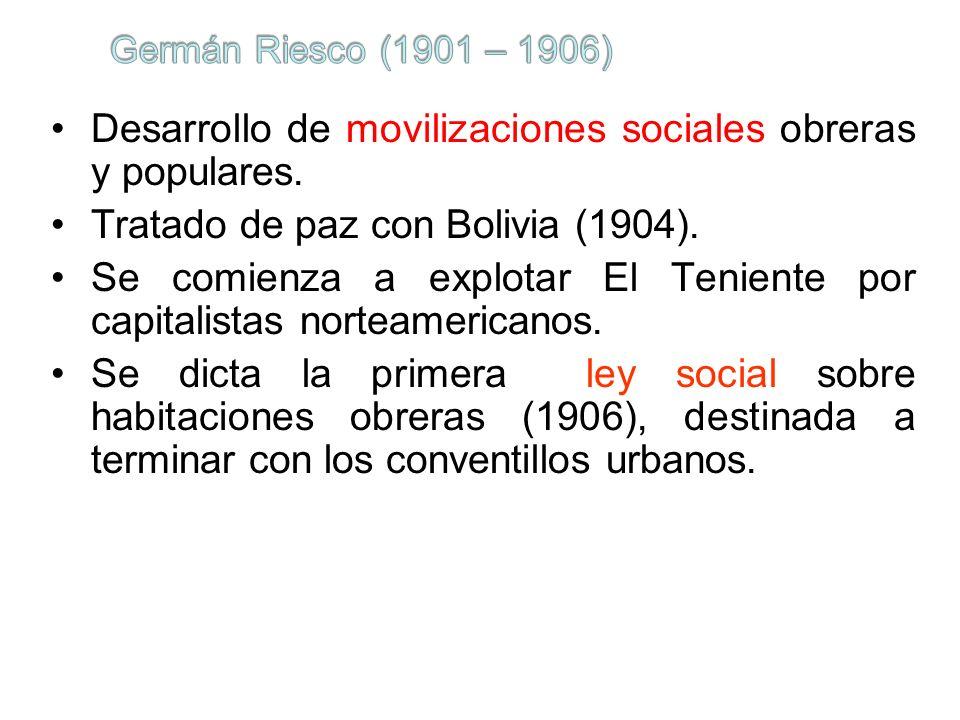 Desarrollo de movilizaciones sociales obreras y populares.