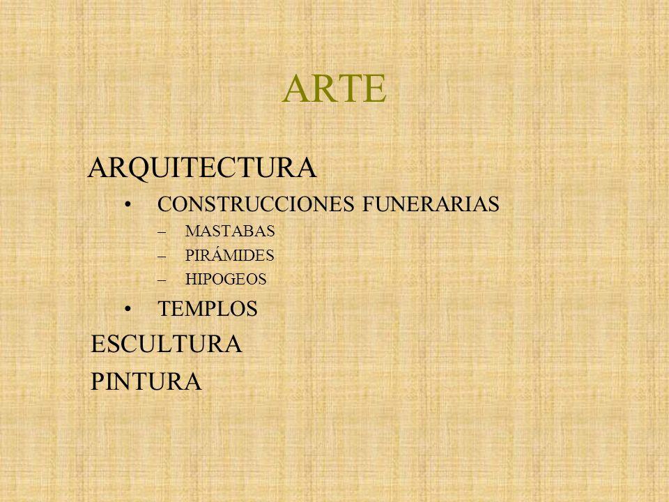 ARTE ARQUITECTURA ESCULTURA PINTURA CONSTRUCCIONES FUNERARIAS TEMPLOS