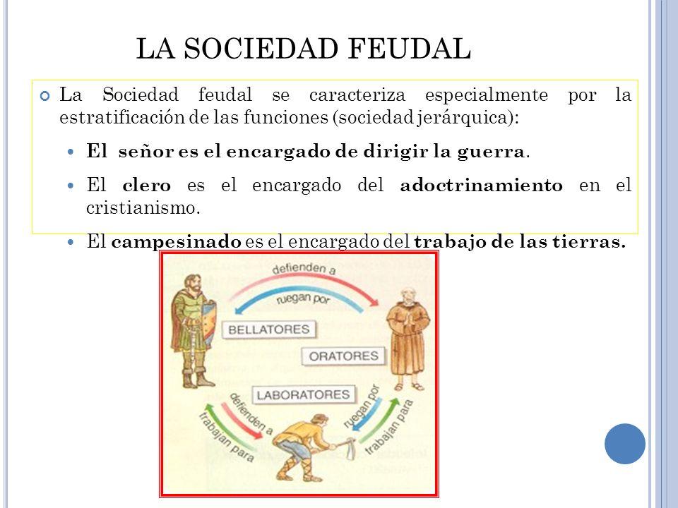 LA SOCIEDAD FEUDAL La Sociedad feudal se caracteriza especialmente por la estratificación de las funciones (sociedad jerárquica):