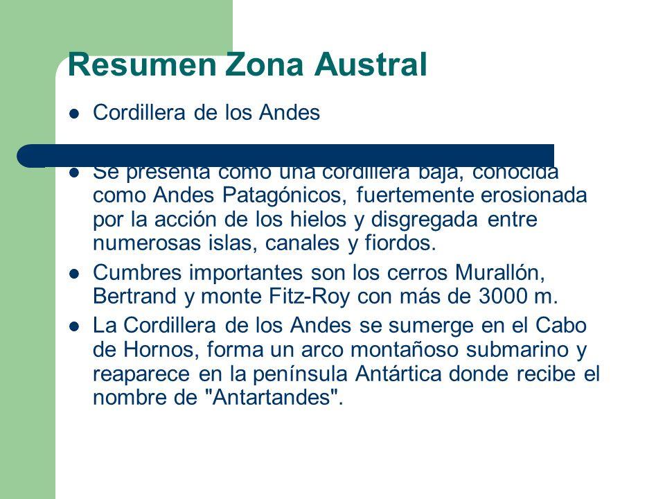 Resumen Zona Austral Cordillera de los Andes