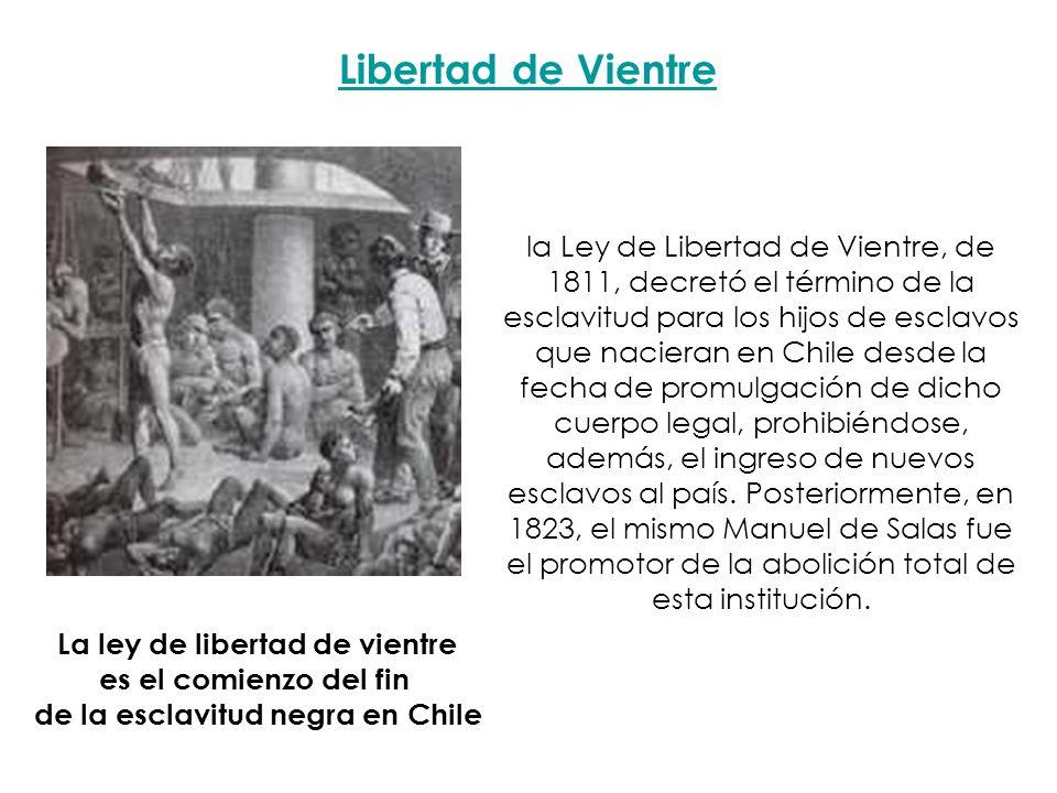 La ley de libertad de vientre de la esclavitud negra en Chile
