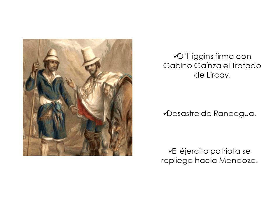 O'Higgins firma con Gabino Gaínza el Tratado de Lircay.