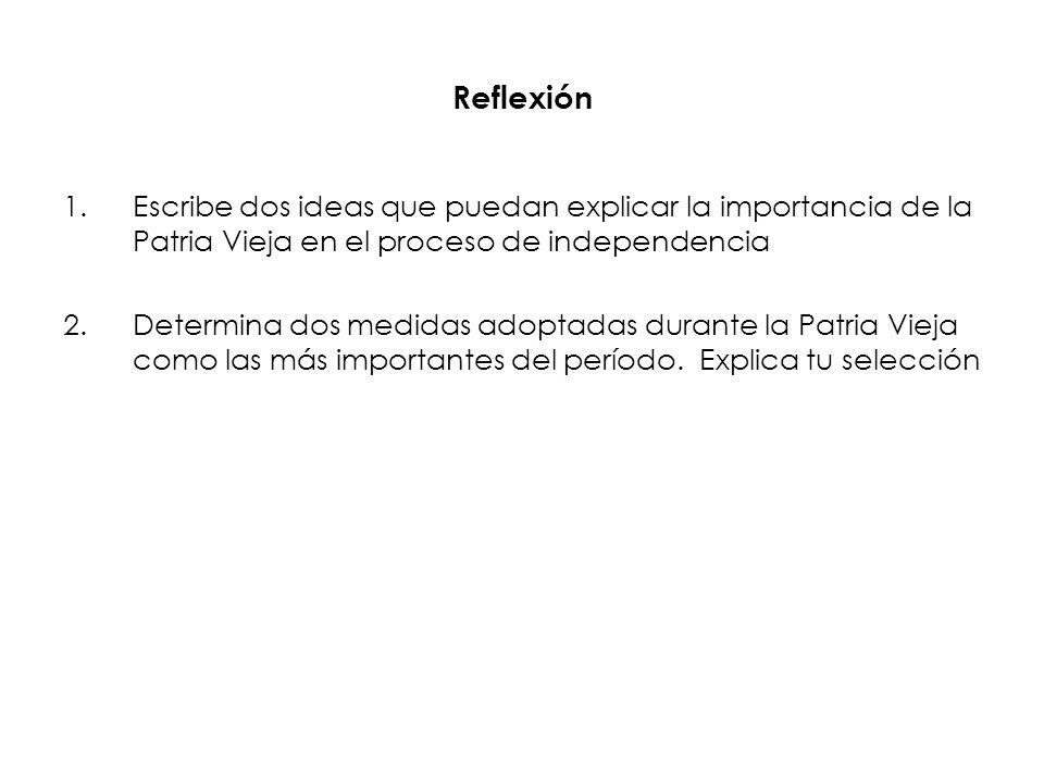 ReflexiónEscribe dos ideas que puedan explicar la importancia de la Patria Vieja en el proceso de independencia.
