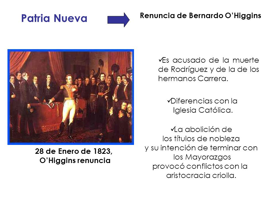 Renuncia de Bernardo O'Higgins