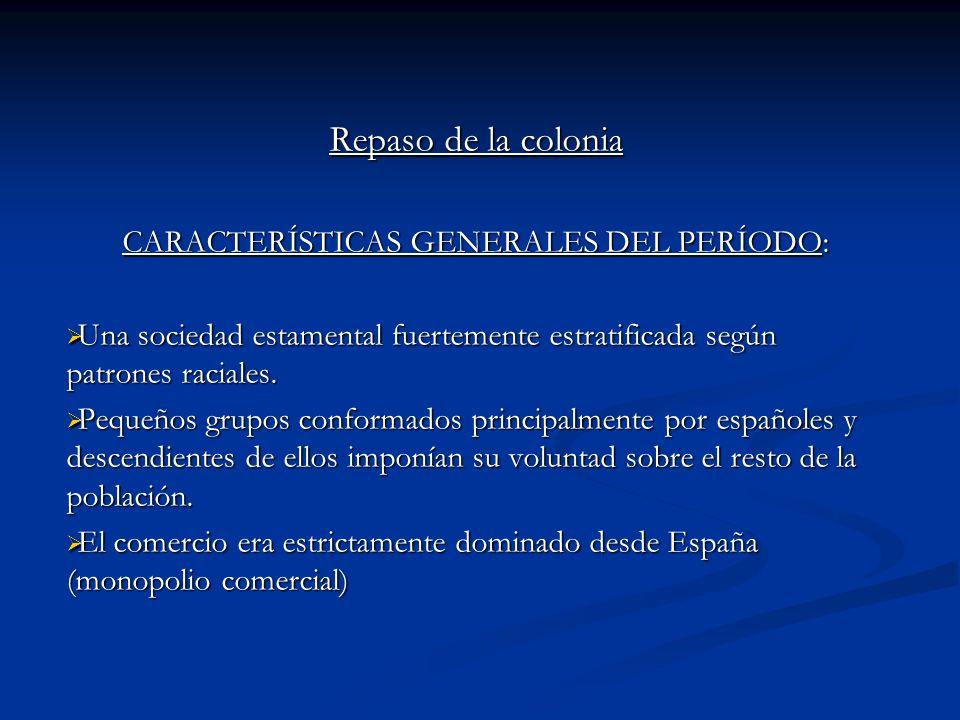 CARACTERÍSTICAS GENERALES DEL PERÍODO: