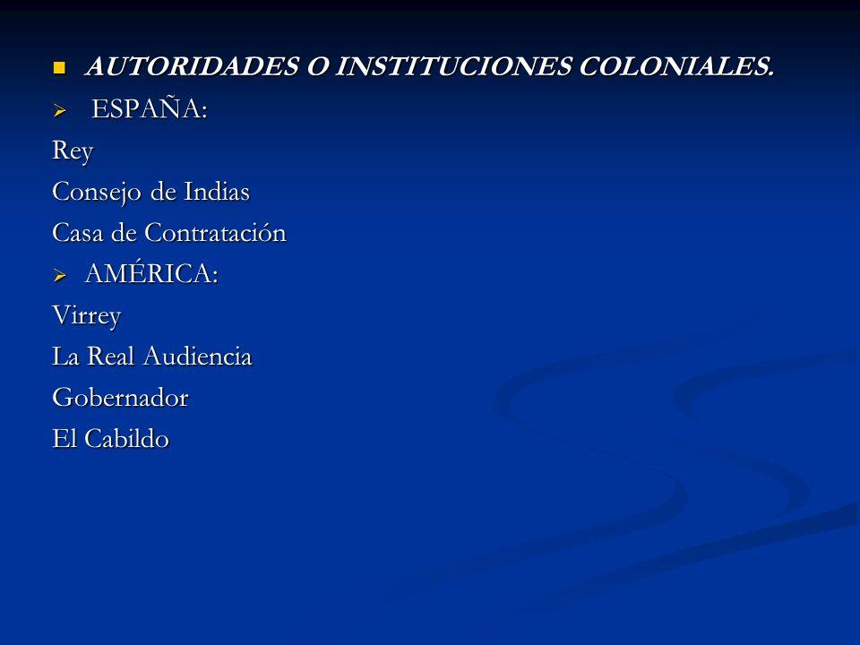 AUTORIDADES O INSTITUCIONES COLONIALES.