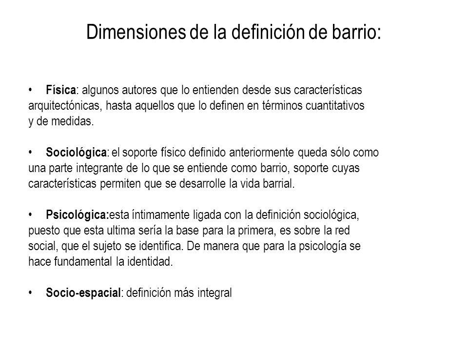 Dimensiones de la definición de barrio: