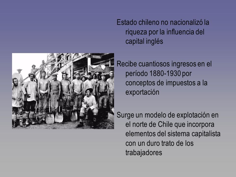 Estado chileno no nacionalizó la riqueza por la influencia del capital inglés