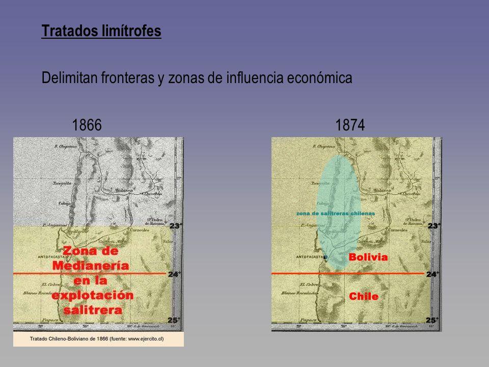 Tratados limítrofes Delimitan fronteras y zonas de influencia económica 1866 1874