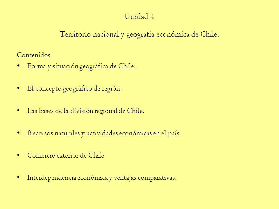 Unidad 4 Territorio nacional y geografía económica de Chile.