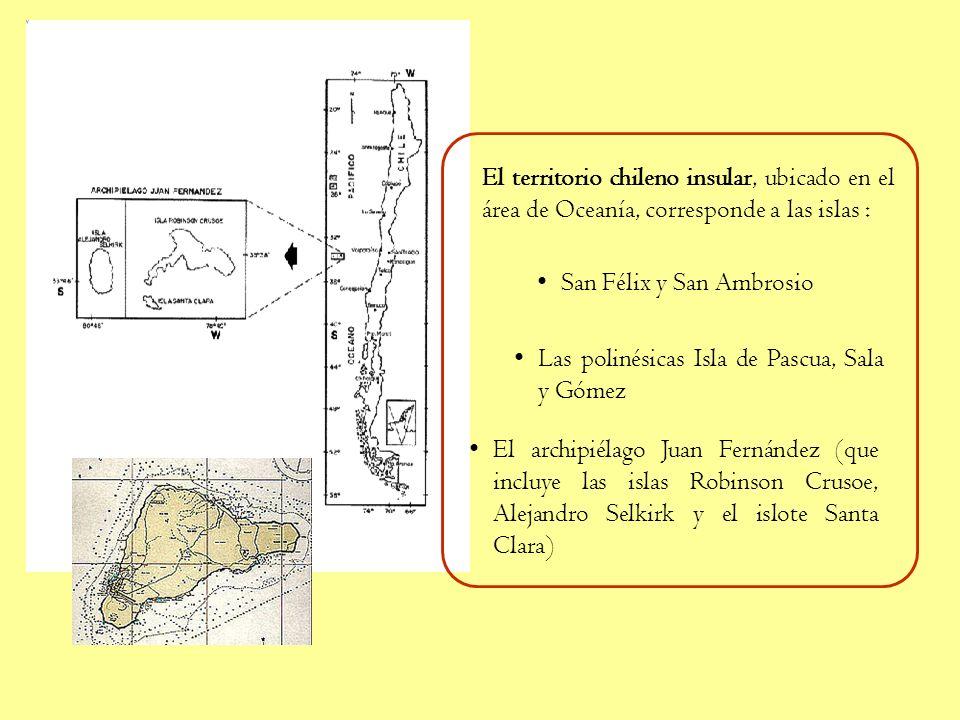 El territorio chileno insular, ubicado en el área de Oceanía, corresponde a las islas :