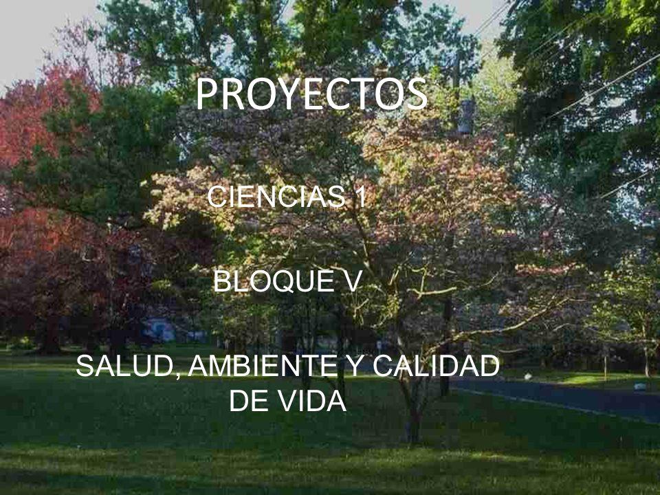 CIENCIAS 1 BLOQUE V SALUD, AMBIENTE Y CALIDAD DE VIDA