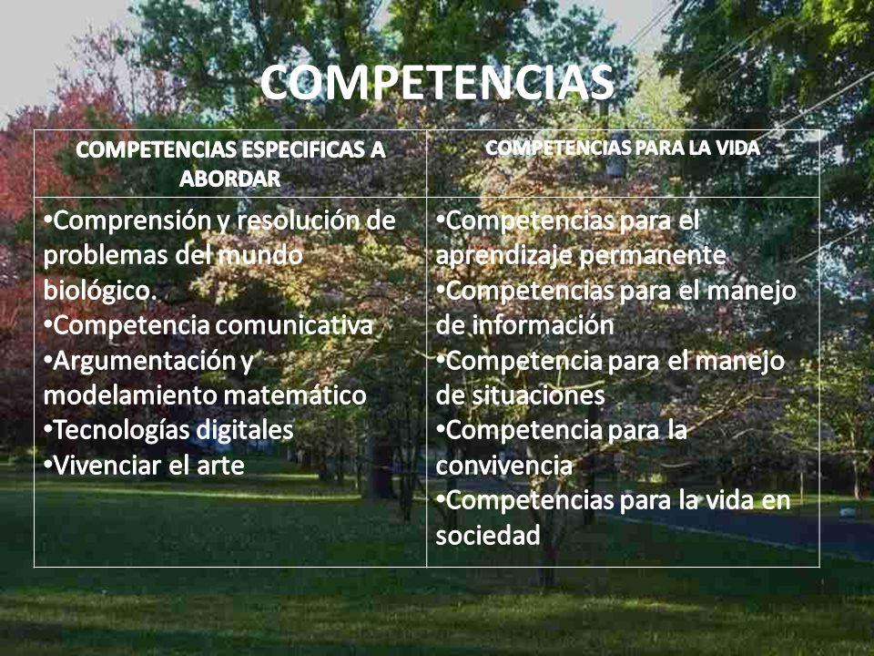 COMPETENCIAS ESPECIFICAS A ABORDAR COMPETENCIAS PARA LA VIDA