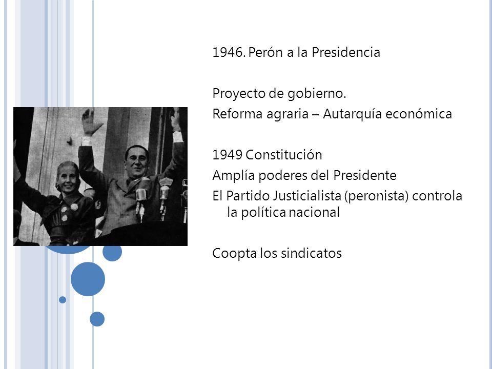 1946. Perón a la PresidenciaProyecto de gobierno. Reforma agraria – Autarquía económica. 1949 Constitución.