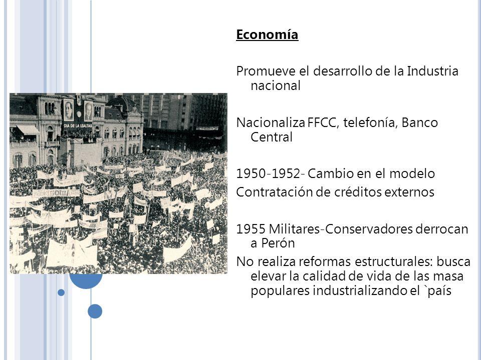 EconomíaPromueve el desarrollo de la Industria nacional. Nacionaliza FFCC, telefonía, Banco Central.