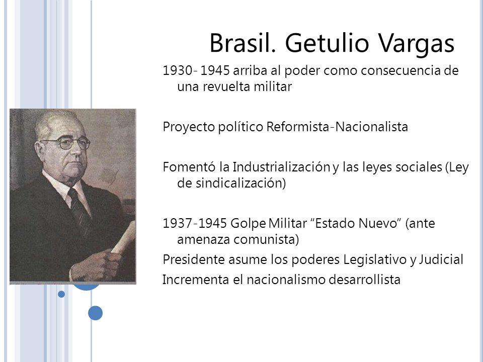 Brasil. Getulio Vargas 1930- 1945 arriba al poder como consecuencia de una revuelta militar. Proyecto político Reformista-Nacionalista.