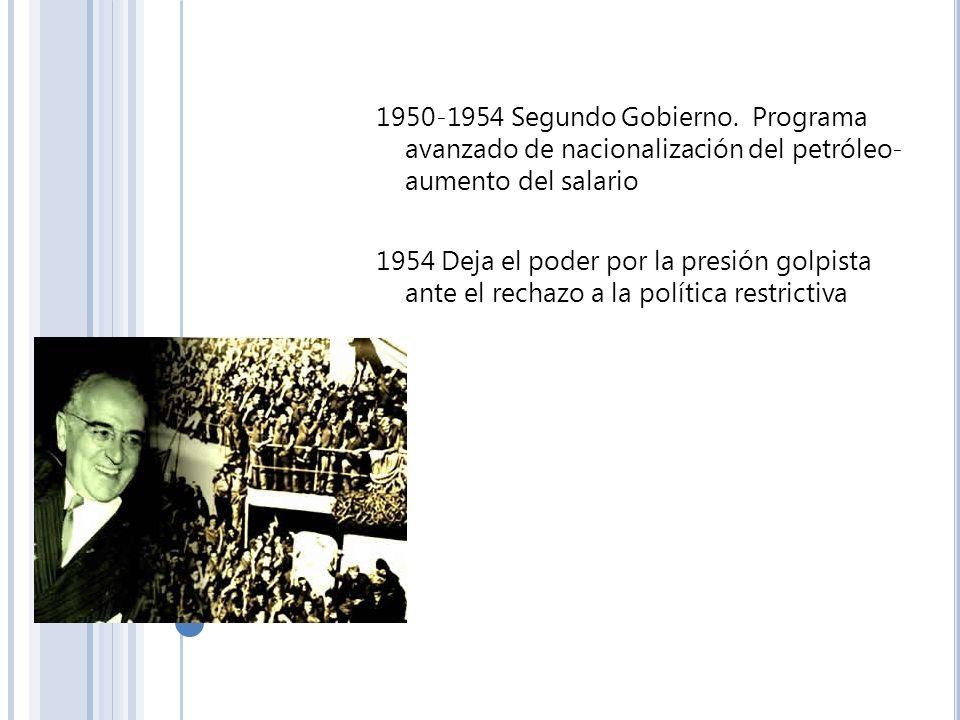 1950-1954 Segundo Gobierno. Programa avanzado de nacionalización del petróleo- aumento del salario