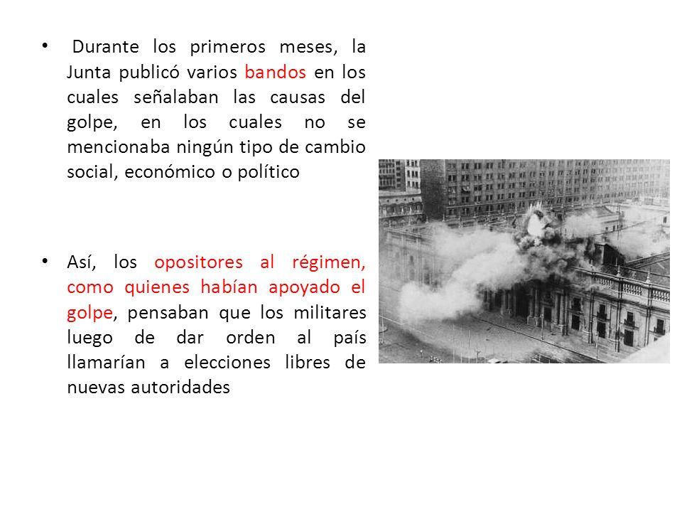 Durante los primeros meses, la Junta publicó varios bandos en los cuales señalaban las causas del golpe, en los cuales no se mencionaba ningún tipo de cambio social, económico o político