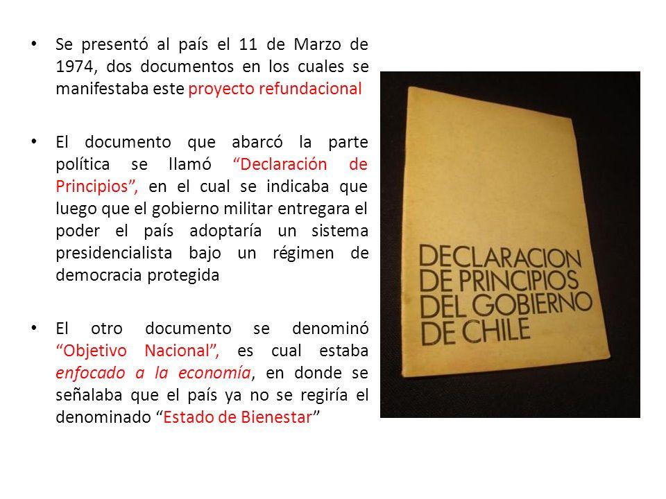 Se presentó al país el 11 de Marzo de 1974, dos documentos en los cuales se manifestaba este proyecto refundacional