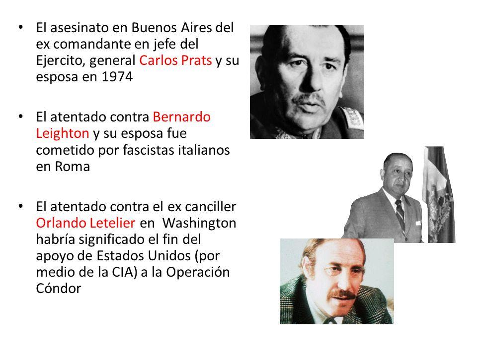 El asesinato en Buenos Aires del ex comandante en jefe del Ejercito, general Carlos Prats y su esposa en 1974