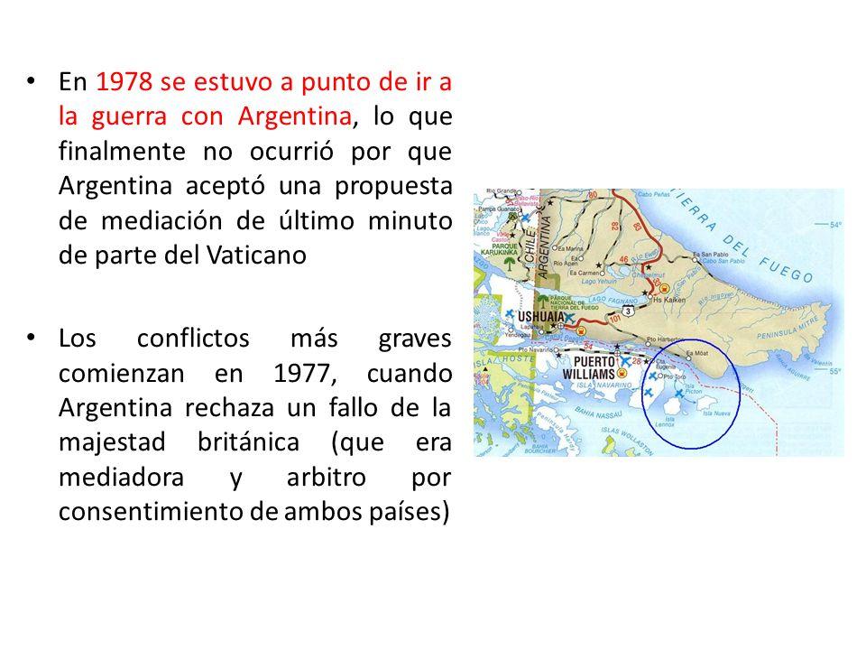 En 1978 se estuvo a punto de ir a la guerra con Argentina, lo que finalmente no ocurrió por que Argentina aceptó una propuesta de mediación de último minuto de parte del Vaticano