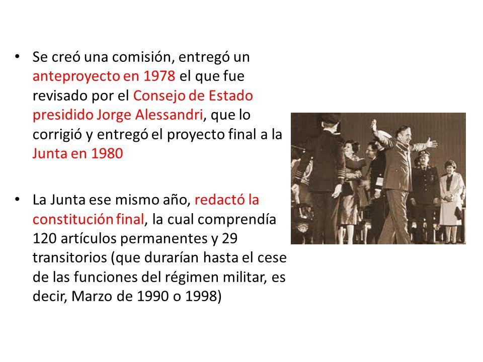 Se creó una comisión, entregó un anteproyecto en 1978 el que fue revisado por el Consejo de Estado presidido Jorge Alessandri, que lo corrigió y entregó el proyecto final a la Junta en 1980