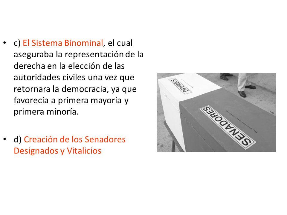 c) El Sistema Binominal, el cual aseguraba la representación de la derecha en la elección de las autoridades civiles una vez que retornara la democracia, ya que favorecía a primera mayoría y primera minoría.