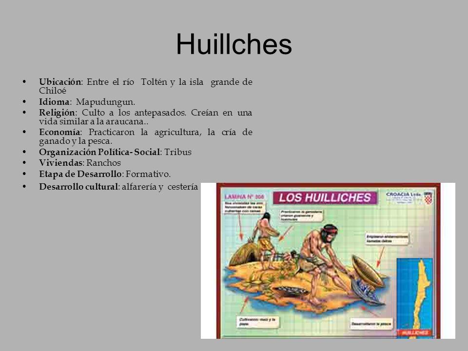 Huillches Ubicación: Entre el río Toltén y la isla grande de Chiloé