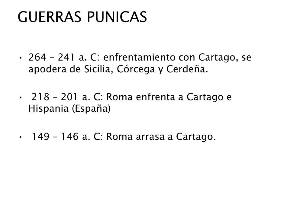 GUERRAS PUNICAS264 – 241 a. C: enfrentamiento con Cartago, se apodera de Sicilia, Córcega y Cerdeña.