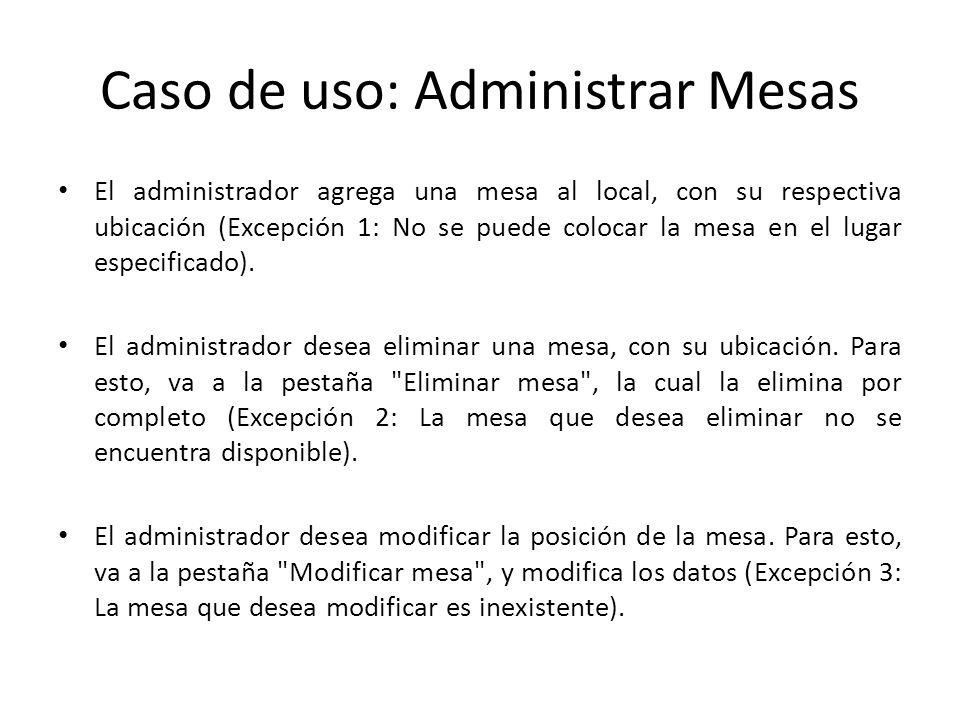 Caso de uso: Administrar Mesas