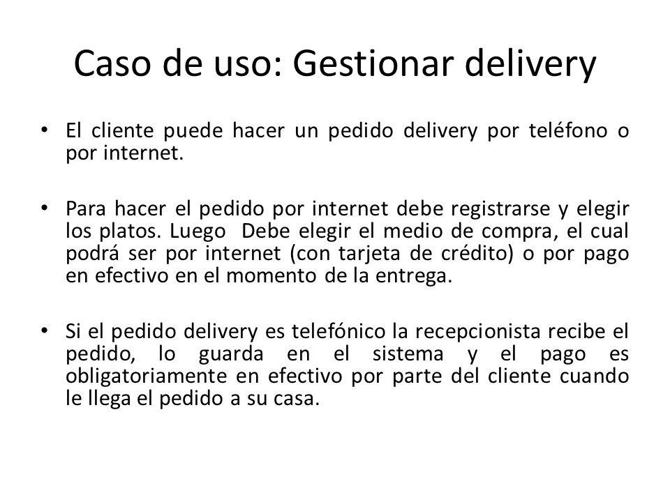 Caso de uso: Gestionar delivery