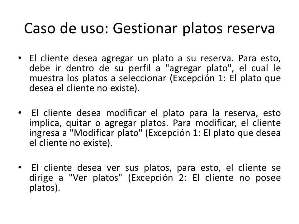 Caso de uso: Gestionar platos reserva