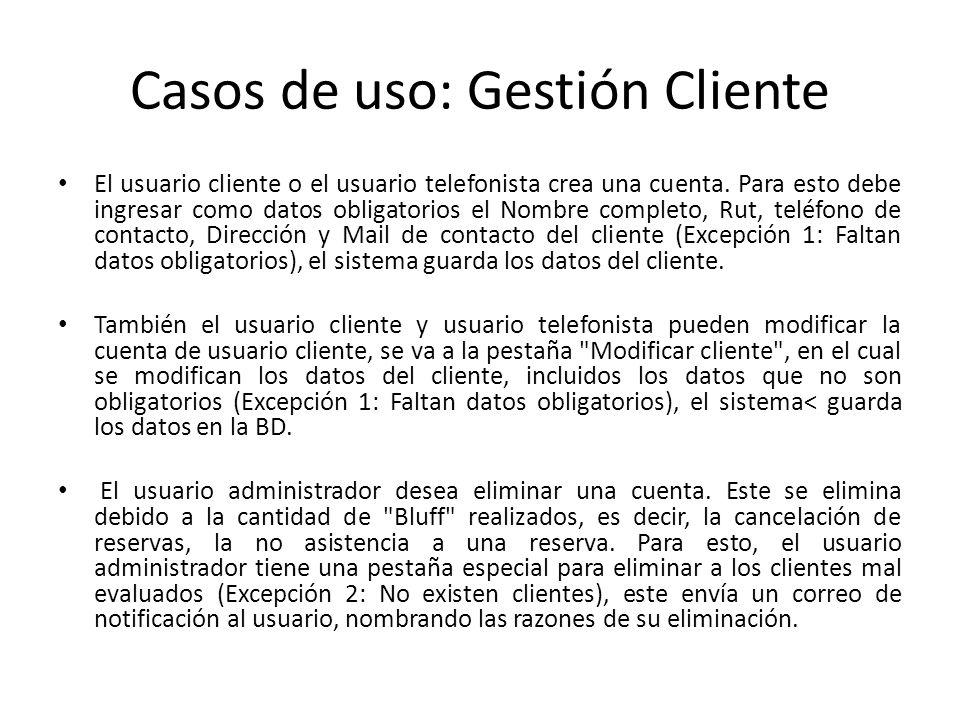 Casos de uso: Gestión Cliente