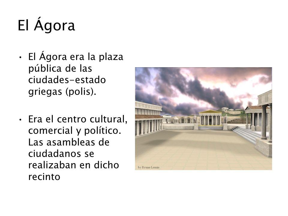 El Ágora El Ágora era la plaza pública de las ciudades-estado griegas (polis).
