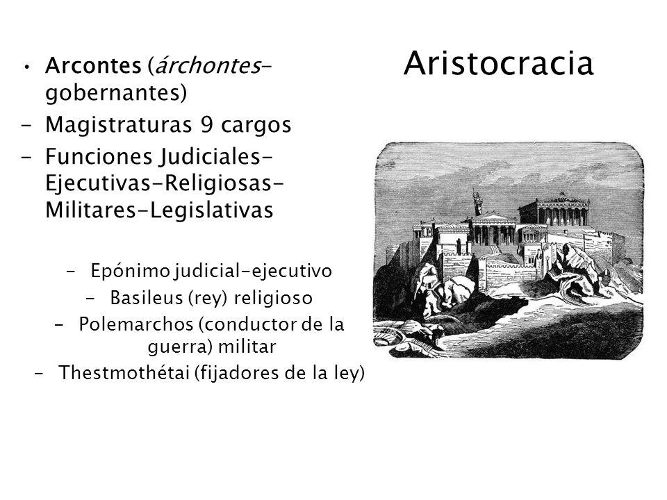 Aristocracia Arcontes (árchontes-gobernantes) Magistraturas 9 cargos