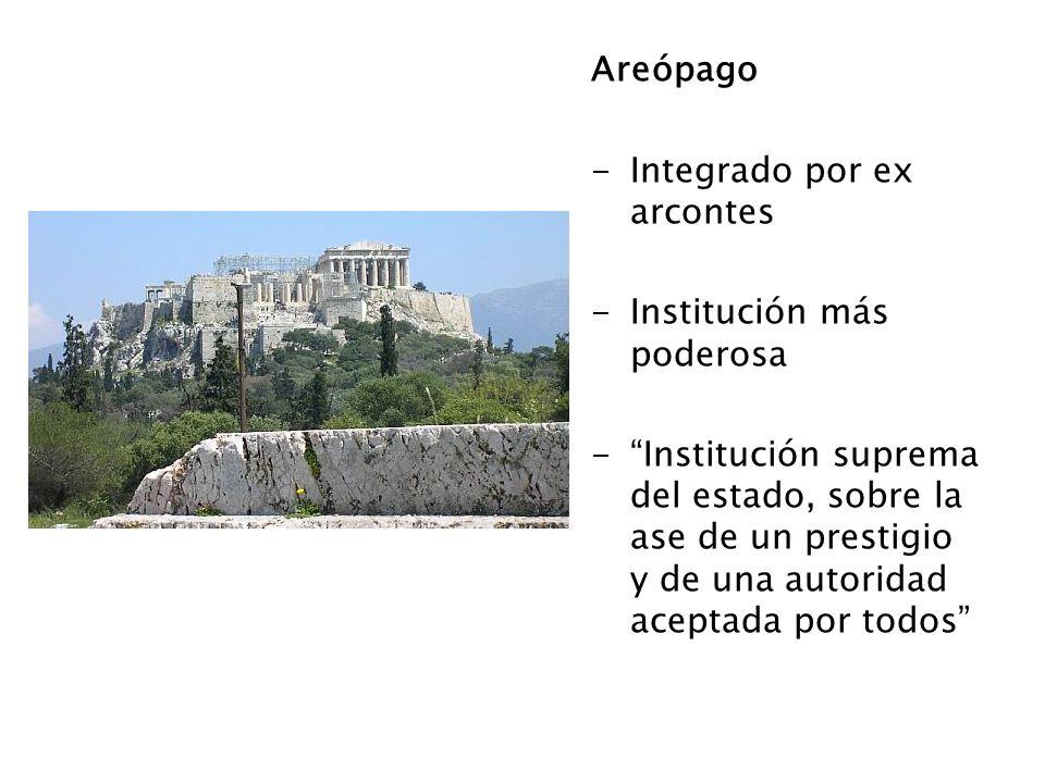 Areópago Integrado por ex arcontes. Institución más poderosa.
