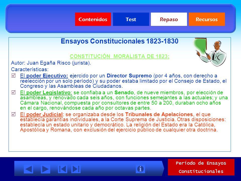 Ensayos Constitucionales 1823-1830 CONSTITUCIÓN MORALISTA DE 1823: