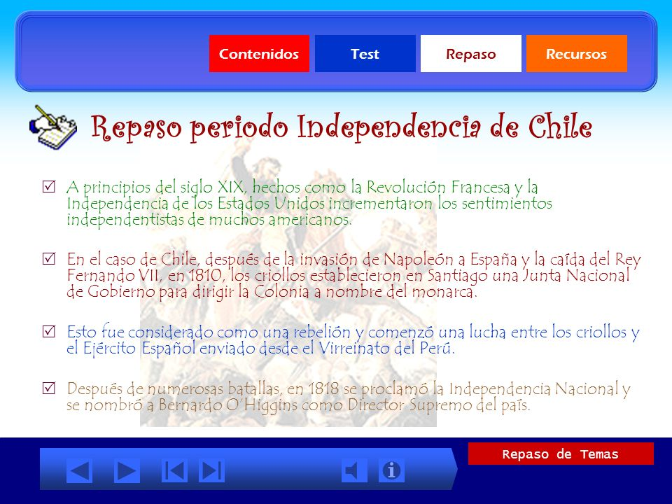 Repaso periodo Independencia de Chile
