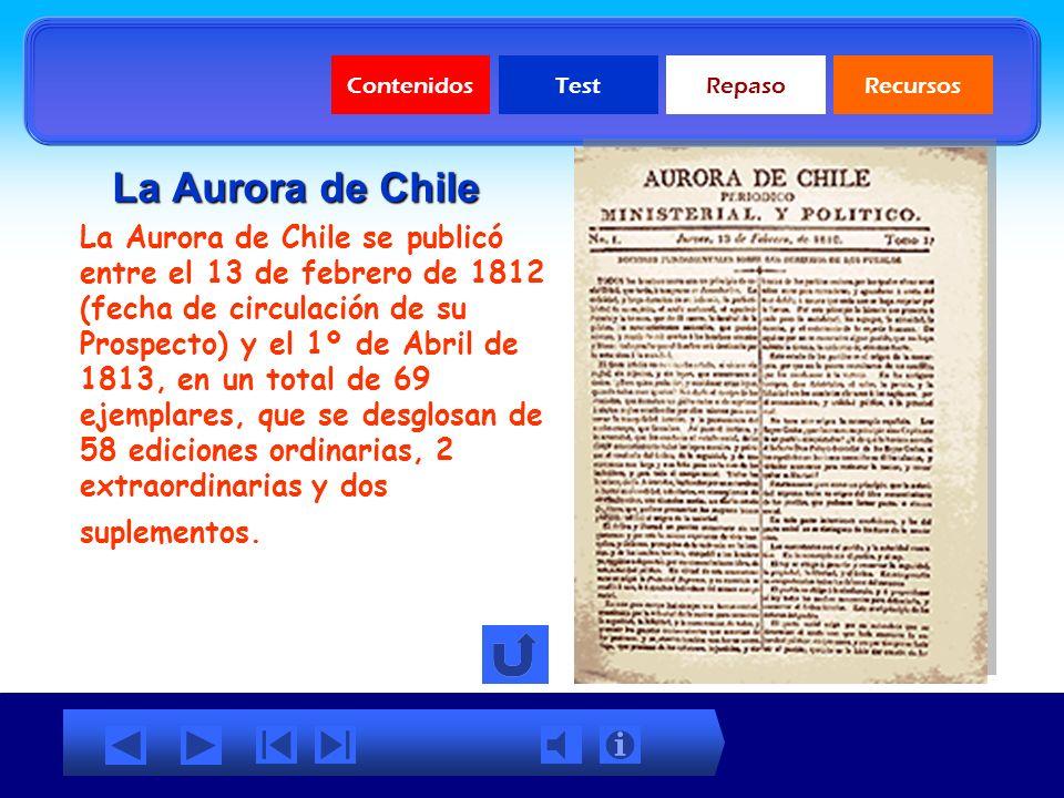Contenidos Test. Repaso. Recursos. La Aurora de Chile.